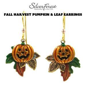 Silver Forest Fall Harvest Pumpkin & Leaf Earrings